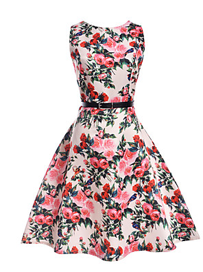 cheap Girls' Dresses-Kids Girls' Floral Daily Holiday Going out Print Sleeveless Dress White