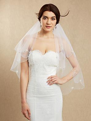 cheap Wedding Veils-Two-tier Beaded Edge Wedding Veil Blusher Veils / Fingertip Veils with Beading Tulle / Mantilla