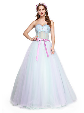 cheap Special Occasion Dresses-A-Line Elegant Formal Evening Dress Sweetheart Neckline Sleeveless Floor Length Tulle with Sash / Ribbon Pleats Beading 2020