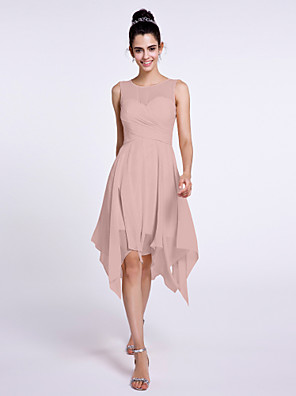 cheap Cocktail Dresses-A-Line Scoop Neck Knee Length Chiffon Bridesmaid Dress with Criss Cross