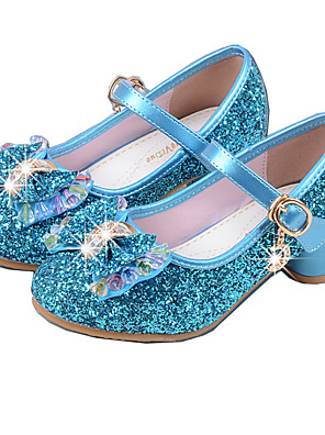 cheap Prom Dresses-Girls' Party / Mary Jane / Basic Pump PU Heels Little Kids(4-7ys) / Big Kids(7years +) Crystal / Bowknot Pink / Blue / Silver Spring & Summer / Flower Girl Shoes / EU36