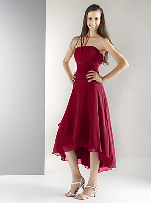 cheap Bridesmaid Dresses-A-Line / Ball Gown Strapless Tea Length / Asymmetrical Chiffon Bridesmaid Dress with Draping / Ruched