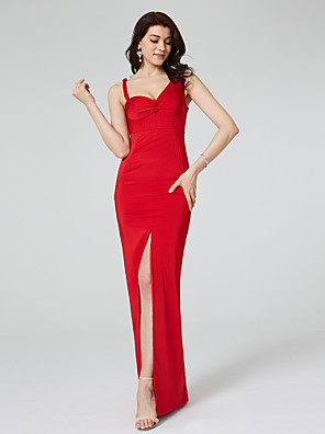cheap Special Occasion Dresses-Sheath / Column Celebrity Style Furcal Formal Evening Dress Straps Sleeveless Floor Length Satin with Ruched Draping Split Front 2020