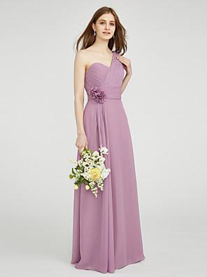 cheap Bridesmaid Dresses-Sheath / Column One Shoulder Floor Length Chiffon Bridesmaid Dress with Criss Cross / Ruched / Draping