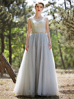 cheap Prom Dresses-Ball Gown Sparkle & Shine Beaded & Sequin Prom Formal Evening Dress Illusion Neck Sleeveless Floor Length Tulle with Sash / Ribbon Beading Sequin 2020
