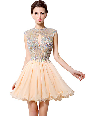 cheap Special Occasion Dresses-A-Line Open Back Cocktail Party Dress Illusion Neck Sleeveless Short / Mini Chiffon with Crystals Beading 2020