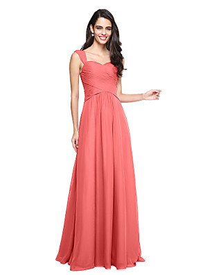 cheap Bridesmaid Dresses-A-Line Straps Floor Length Chiffon Bridesmaid Dress with Criss Cross / Ruched