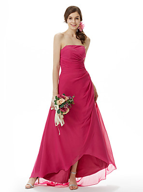 cheap Bridesmaid Dresses-Princess / A-Line Strapless Sweep / Brush Train / Asymmetrical Chiffon Bridesmaid Dress with Side Draping