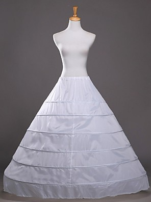 cheap Wedding Slips-Wedding / Party / Evening Slips Cotton / Polyester Floor-length Glossy / A-Line Slip / Ball Gown Slip with White Bow
