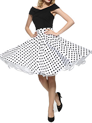 cheap Women's Skirts-Women's Party / Cocktail Vintage Swing Skirts - Polka Dot Pleated Black White Red S M L