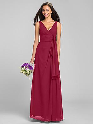 78812538e2e6 Ίσια Γραμμή Λαιμόκοψη V Μακρύ Σιφόν Φόρεμα Παρανύμφων με Χιαστί με LAN TING  BRIDE®