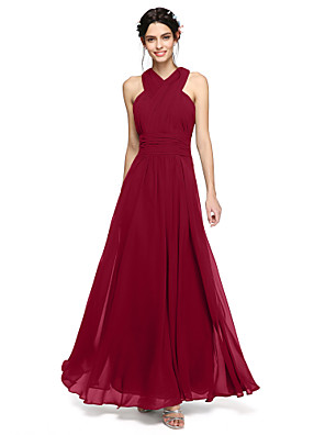 cheap Bridesmaid Dresses-A-Line Halter Neck / Y Neck Floor Length Chiffon Bridesmaid Dress with Sash / Ribbon / Criss Cross / Ruched / Open Back