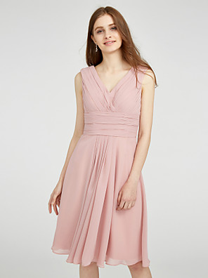 cheap Wedding Wraps-A-Line V Neck Knee Length Chiffon Bridesmaid Dress with Criss Cross / Ruched / Side Draping