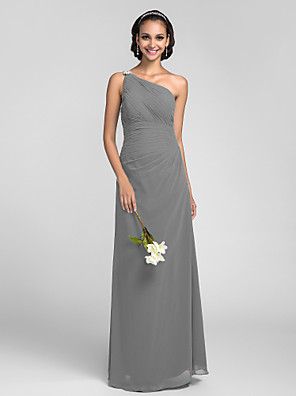 cheap Bridesmaid Dresses-Sheath / Column One Shoulder Floor Length Chiffon Bridesmaid Dress with Ruched / Side Draping / Crystal Brooch