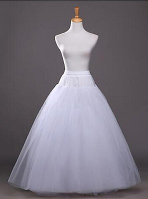 cheap Wedding Slips-Wedding / Party / Evening Slips Tulle / Cotton / Polyester Floor-length / Tea-Length Glossy / A-Line Slip / Ball Gown Slip with White Bow