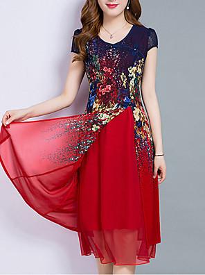 cheap Romantic Lace Dresses-Women's Plus Size Knee Length Dress Chiffon - Short Sleeve Floral Print Layered Print Summer Going out Red Royal Blue M L XL XXL XXXL XXXXL XXXXXL