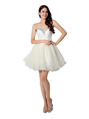 cheap Prom Dresses-Back To School A-Line Fit & Flare Cocktail Party Dress Sweetheart Neckline Sleeveless Short / Mini Organza with Crystals Sequin 2020 Hoco Dress