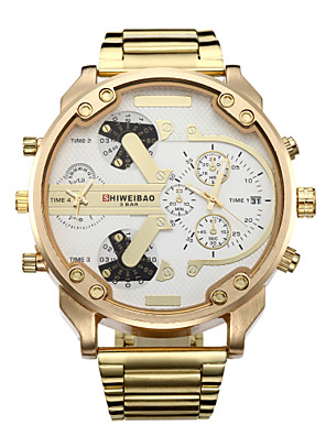 cheap Wedding Wraps-Men's Sport Watch Military Watch Wrist Watch Quartz Calendar / date / day Dual Time Zones Cool Stainless Steel Band Analog Luxury Vintage Casual Gold - Gold / White