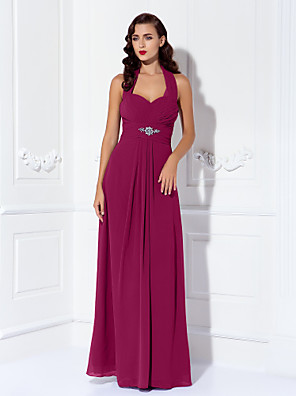 cheap Evening Dresses-Sheath / Column Halter Neck Floor Length Chiffon Bridesmaid Dress with Beading / Draping / Criss Cross / Open Back