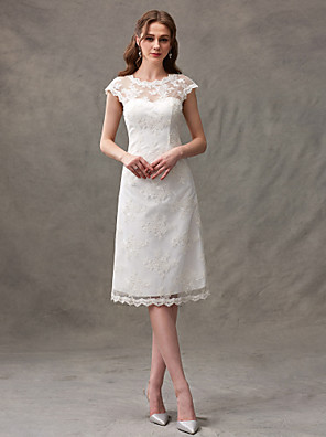cheap Wedding Dresses-A-Line Wedding Dresses Jewel Neck Knee Length Floral Lace Cap Sleeve Casual See-Through Backless with Lace Draping 2020