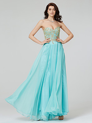 cheap Special Occasion Dresses-A-Line Formal Evening Dress Sweetheart Neckline Sleeveless Floor Length Chiffon with Sequin Appliques 2020