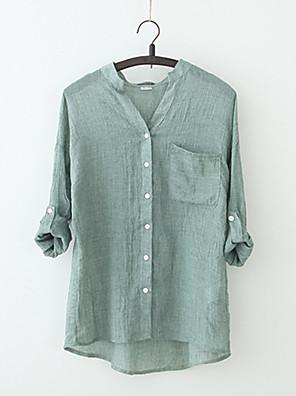 povoljno Bluza-Žene Jednobojni Bluza Vintage Dnevno Izlasci V izrez Obala / Plava / Žutomrk / Djetelina / Sive boje