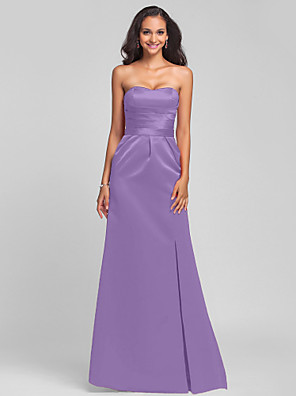 cheap Bridesmaid Dresses-Sheath / Column Strapless / Sweetheart Neckline Sweep / Brush Train Satin Bridesmaid Dress with Sash / Ribbon / Split Front