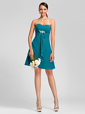 cheap Cocktail Dresses-A-Line / Ball Gown Strapless / Sweetheart Neckline Knee Length Chiffon Bridesmaid Dress with Draping / Side Draping / Crystal Brooch
