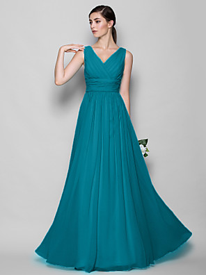 cheap Bridesmaid Dresses-A-Line / Sheath / Column V Neck Floor Length Georgette Bridesmaid Dress with Criss Cross / Open Back