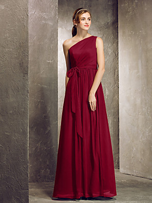 cheap Evening Dresses-Sheath / Column One Shoulder Floor Length Chiffon Bridesmaid Dress with Side Draping