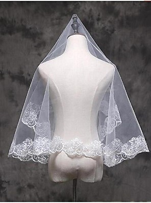cheap Wedding Veils-One-tier Lace Applique Edge Wedding Veil Elbow Veils / Fingertip Veils with Appliques Lace / Tulle / Classic