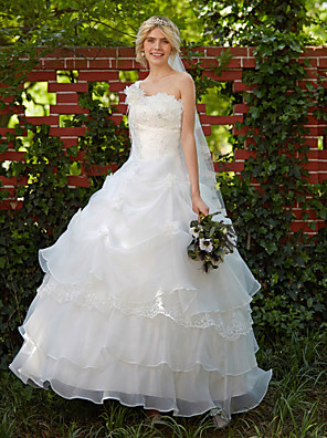 cheap Prom Dresses-Ball Gown Wedding Dresses One Shoulder Floor Length Organza Sleeveless with Pick Up Skirt Beading Appliques 2020