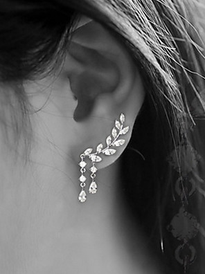cheap Quartz Watches-Women's Cubic Zirconia Stud Earrings Ear Climbers Climber Earrings Leaf Drop Ladies Simple Tassel Elegant Blinging everyday Earrings Jewelry Gold / Silver For Wedding Party Gift Daily Masquerade