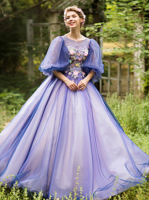 cheap Special Occasion Dresses-Ball Gown Vintage Inspired Formal Evening Dress Illusion Neck Half Sleeve Floor Length Tulle with Beading Appliques Flower 2020