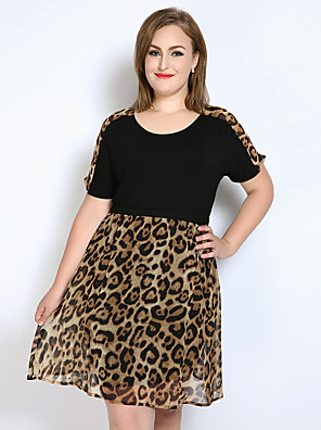 cheap Women's Dresses-Women's Black Dress Vintage Spring Party Daily Holiday A Line Loose Chiffon Leopard Color Block Patchwork L XL