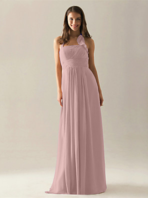 cheap Bridesmaid Dresses-A-Line Halter Neck Floor Length Chiffon Bridesmaid Dress with Draping / Ruffles / Ruched