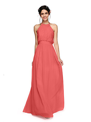 cheap Bridesmaid Dresses-A-Line Halter Neck Floor Length Chiffon Bridesmaid Dress with Criss Cross / Ruched