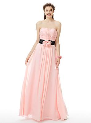cheap Bridesmaid Dresses-Princess / A-Line Strapless Floor Length Chiffon Bridesmaid Dress with Sash / Ribbon / Ruched / Flower