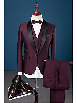 cheap Shirts-Burgundy Solid Colored Slim Fit Cotton / Polyester / Spandex Suit - Shawl Collar Single Breasted One-button / Suits