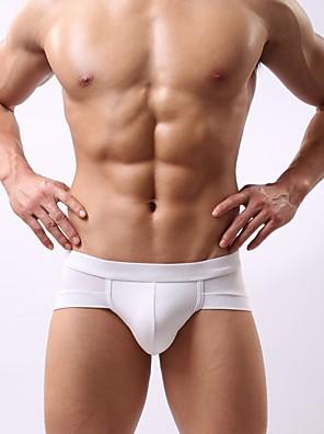 cheap Men's Exotic Underwear-Men's Super Sexy Briefs Underwear Solid Colored 1 Piece Black White Purple L XL XXL