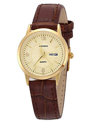 cheap Dress Classic Watches-Women's Fashion Watch Quartz Leather Black / Brown Analog White Black Black / Gold