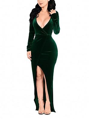 cheap Evening Dresses-Women's Plus Size Maxi long Dress Wrap Dress - Long Sleeve Solid Colored Split Spring Fall Deep V Cocktail Party Prom Skinny Velvet Wine Blue Green Silver S M L XL XXL XXXL XXXXL / Sexy