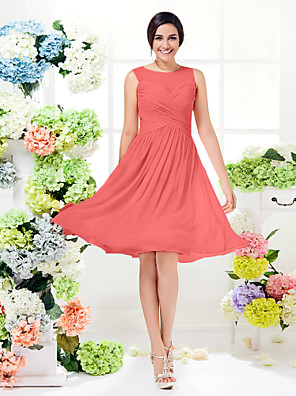 cheap Bridesmaid Dresses-A-Line Jewel Neck Knee Length Georgette Bridesmaid Dress with Criss Cross / See Through