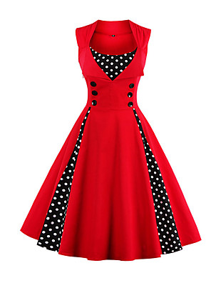 c626a8271c1 Women s Plus Size Party Holiday Going out Vintage 1950s A Line Dress - Polka  Dot Red