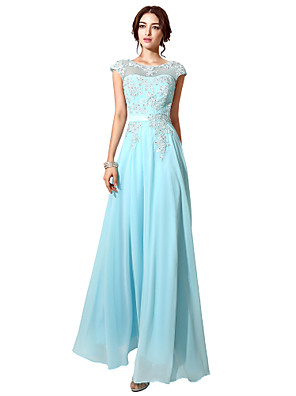 cheap Evening Dresses-A-Line Elegant Formal Evening Dress Illusion Neck Sleeveless Floor Length Tulle with Beading 2020
