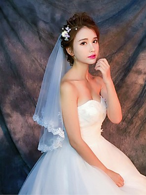 cheap Wedding Veils-One-tier Lace Applique Edge Wedding Veil Elbow Veils / Fingertip Veils with Appliques / Pattern Lace / Tulle / Classic