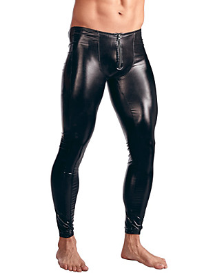 cheap Men's Exotic Underwear-Men's Patent Leather Erotic Long Johns Solid Colored Mid Waist / Skinny