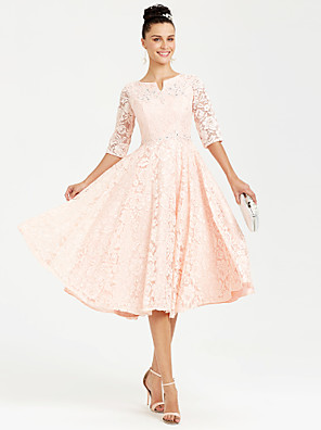 cheap Special Occasion Dresses-Back To School A-Line Elegant Pink Wedding Guest Cocktail Party Dress Jewel Neck Half Sleeve Tea Length All Over Lace with Crystals Lace Insert Appliques 2020 / Illusion Sleeve Hoco Dress