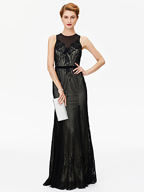 cheap Special Occasion Dresses-Sheath / Column Mother of the Bride Dress See Through Jewel Neck Floor Length Sheer Lace Sleeveless with Sash / Ribbon Appliques 2020