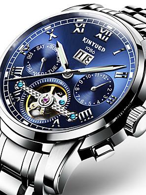 baratos Os mais vendidos-KINYUED Homens Relógio Esportivo Relógio Esqueleto Relógio Militar Automático - da corda automáticamente Amuleto Impermeável Aço Inoxidável Preta / Prata Analógico - Preto e Dourado Branco / preto